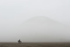 Horseman among the mist in Bromo Royalty Free Stock Photography