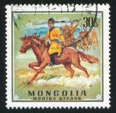 Horseman. MONGOLIA - CIRCA 1970: stamp printed by Mongolia, shows horseman, circa 1970 Royalty Free Stock Image
