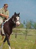 Horseman on the mountain landscape Royalty Free Stock Image