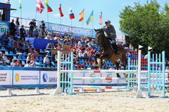Horseman participate in competitions on tournament on modern pentathlon Royalty Free Stock Photos