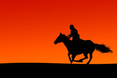 Horseman Silhouette (Vector). Silhouette of a horse and rider at sunset (file contains clipping path for horse outline Royalty Free Stock Image