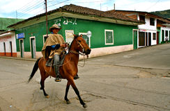 Horseman, Silvia, Colombia. Horseman in traditional clothing. Silvia, rural Colombia royalty free stock photography