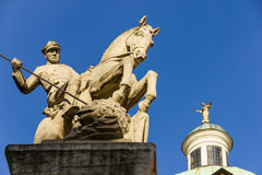 Horseman slaying a dragon. Poznan. Poland Royalty Free Stock Photos