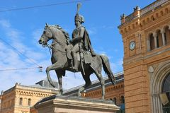 Horseman statue in Hanover, Germany. Stock Photos