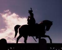 Horseman Statue silhouette - Rome Stock Photography