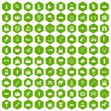 100 horsemanship icons hexagon green. 100 horsemanship icons set in green hexagon isolated vector illustration Royalty Free Stock Photos