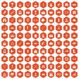 100 horsemanship icons hexagon orange. 100 horsemanship icons set in orange hexagon isolated vector illustration Stock Images