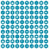 100 horsemanship icons sapphirine violet. 100 horsemanship icons set in sapphirine hexagon isolated vector illustration vector illustration