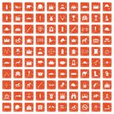 100 horsemanship icons set grunge orange. 100 horsemanship icons set in grunge style orange color isolated on white background vector illustration Stock Photos