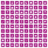 100 horsemanship icons set grunge pink. 100 horsemanship icons set in grunge style pink color isolated on white background vector illustration Stock Photography