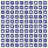 100 horsemanship icons set grunge sapphire. 100 horsemanship icons set in grunge style sapphire color isolated on white background vector illustration Royalty Free Stock Photos