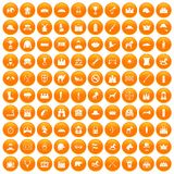 100 horsemanship icons set orange. 100 horsemanship icons set in orange circle isolated on white vector illustration Vector Illustration