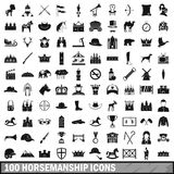 100 horsemanship icons set, simple style Royalty Free Stock Photo