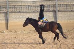 Horsemanship performance. The ancient costume horsemanship performance is held in Minle Manor in Yuci, Shanxi, China Royalty Free Stock Photos