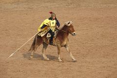 Horsemanship performance. The ancient costume horsemanship performance is held in Minle Manor in Yuci, Shanxi, China Royalty Free Stock Photo