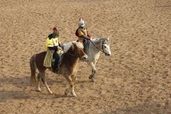 Horsemanship performance Stock Images