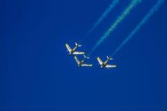 Horsemen F-86 Sabres. Hillsboro, Oregon - September 20, 2014: Bremont Horsemen F-86 Sabres perform at Oregon International Air Show Stock Photos
