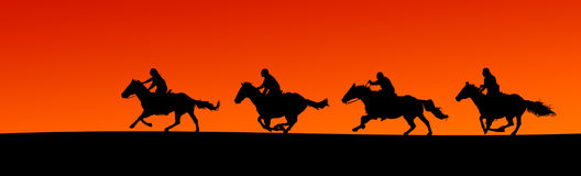 Horsemen Silhouette Panorama (clipping paths). Panoramic silhouette of four horses and riders at sunset (clipping paths included for horse outlines Stock Photo
