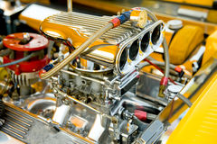 Horsepower. Powerful hot-rod engine bay with a large number of chromed parts Stock Photo