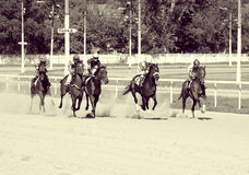 The horserace for the prize  Royalty Free Stock Image