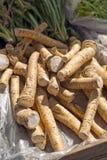 Horseradish. Fresh horseradish roots on a local market close up Royalty Free Stock Image