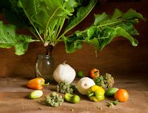 Horseradish in a vase and various fresh vegetables on wooden background Royalty Free Stock Photo