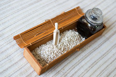 Horseradish. Spice in wooden container and wooden scoop and jar stock images