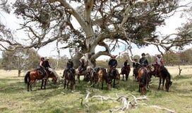 组horseriders 免版税库存照片