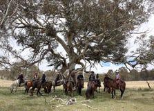 组horseriders 库存照片