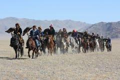Horseriders nel mongolian Fotografia Stock