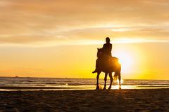 Horseriding at the beach on sunset background. Multicolored outd Stock Photo