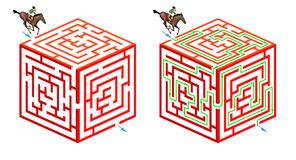 Horseriding cubic maze. Solve this original three dimensional maze game: help the rider and his horse to cross the cube and find the way out Stock Photo
