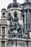 Horseriding statue in the Maria Theresa monument Royalty Free Stock Photos