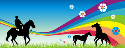 Horses. Vector illustration of a horses and varios decorativ elements Royalty Free Stock Photos