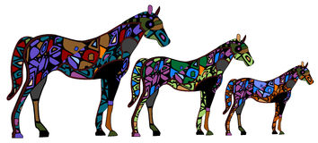 Horses. In the ethnic style of the various elements on a white background Stock Photography