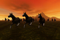Horses. A 3 D render of a horses Stock Photography