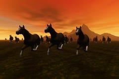 Horses. A 3 D render of a horses vector illustration
