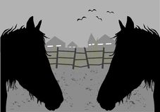 Horses. Couple horses,bird and houses stock illustration