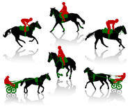Horses-4. Silhouettes of equestrians on horses during competitions Royalty Free Stock Photo