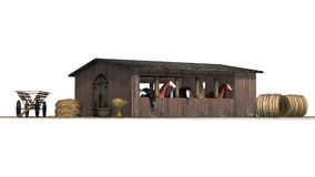 Horses in barn - isolated on white background Stock Photos