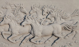 Horses bass-relief Royalty Free Stock Image
