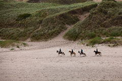 Horses On The Beach. Four People Riding Horses On The Beach In County Donegal, Ireland Royalty Free Stock Photography