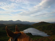 Through the Horses Beacon Tarn and Coniston Old Man Royalty Free Stock Image