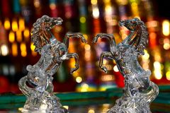 Horses Beautiful Glass Made Showpiece Background Photograph Stock Photo