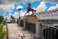 Horses on the bridge Stock Images