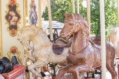 Horses on a carnival Merry Go Round. Royalty Free Stock Photos