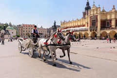 Horses and carriage old town square royalty free stock photo