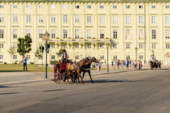 Horses and Classic Carriage Transport at Hofburg Palace Stock Images