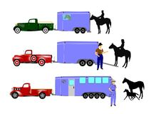 Horses and cowboys. Cowboys loading horses on to trailers with pick up trucks Stock Images