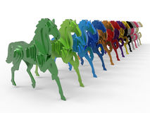 Horses cutouts row concept Stock Photography